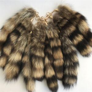 346960e02 NEW 10pcs Lot Real Large American Raccoon Tail Fur Keychain Tassel ...