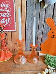 Edle Kerzenständer Glas Orange 20/15cm Kerzenleuchter Stabkerze Garten Sommer
