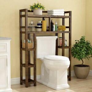 solid wood over the toilet storage shelf bathroom