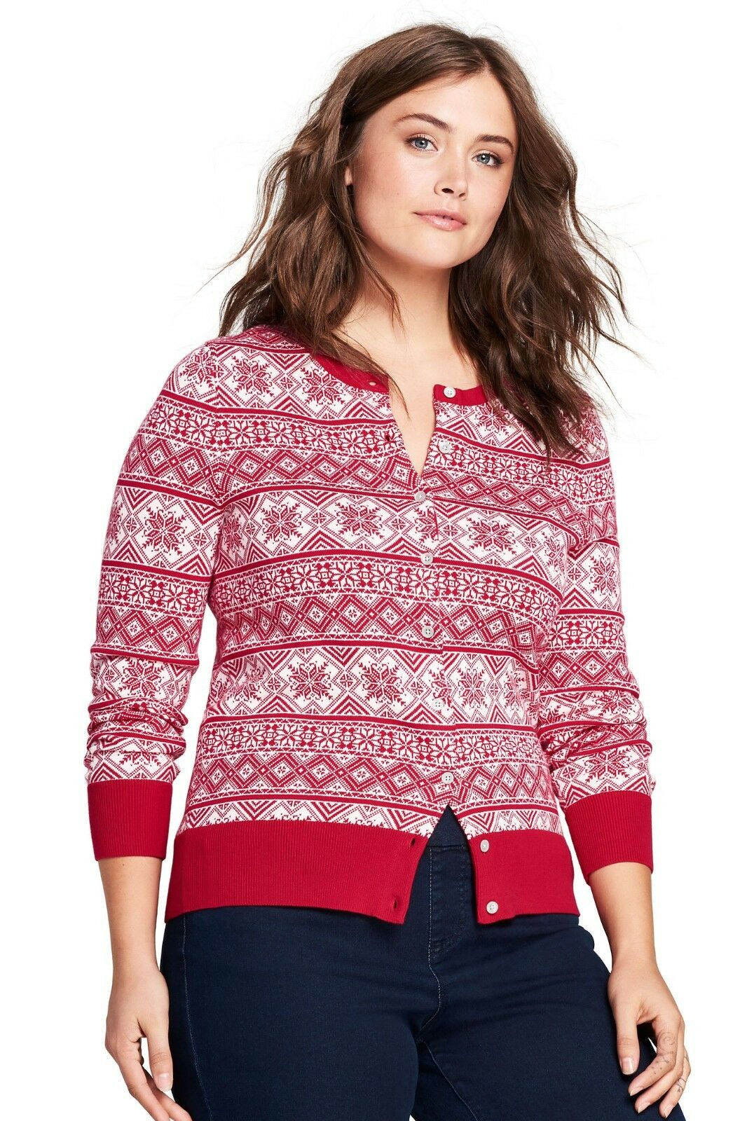 LANDS' END Plus Size 1X Red Fair Isle Supima Cotton Cardigan Sweater NWT