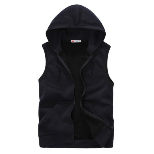 UK Men Plain Vest Hoodie Sleeveless Zipper Jacket Tank Top Waistcoat Hooded Coat