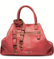 $310 Liebeskind Berlin Leather Coral Madrid Snake Satchel Tote Shoulder Bag