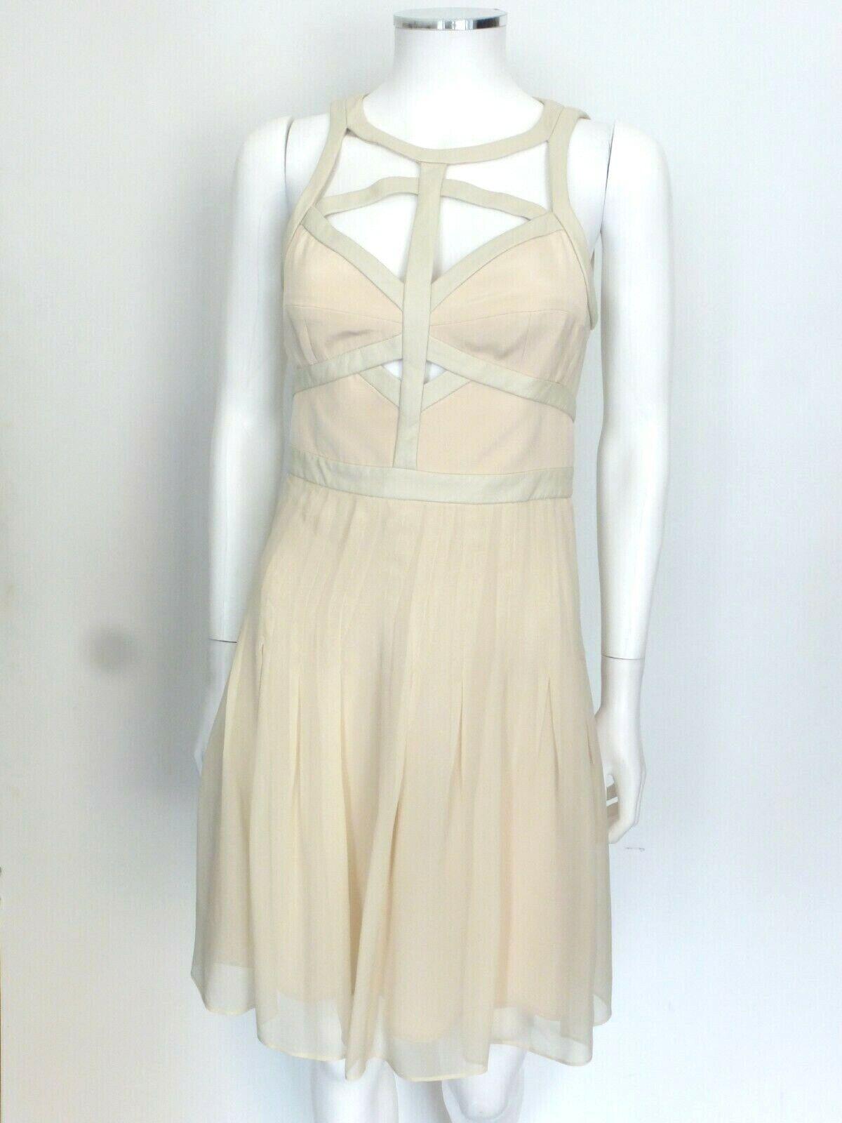 Rebecca Taylor Nude dress Leather Cut-Out design Sz 2 Eu 38