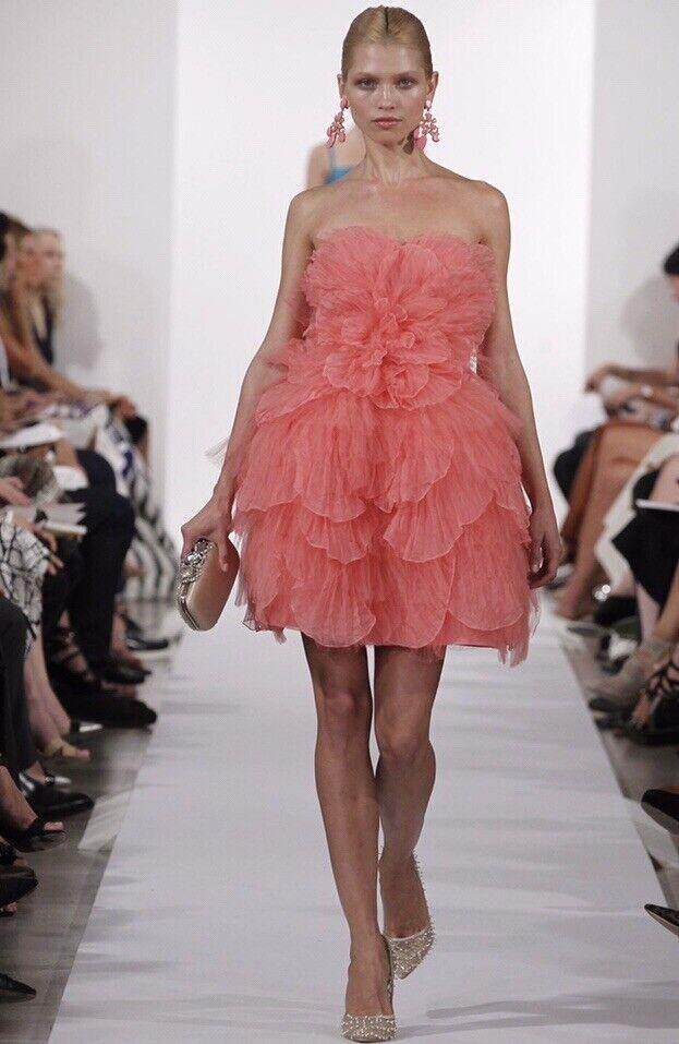2019 Nouveau Style Oscar De La Renta Pink Pétale Robe Soie Us 4 Uk 8 Bnwt Nombreux Dans La VariéTé