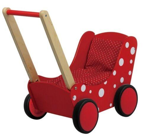 Carrello bambole in legno carrello scorrevole lauflernwagen notalgisch Rosso Legno Carrello Bambole Nuovo