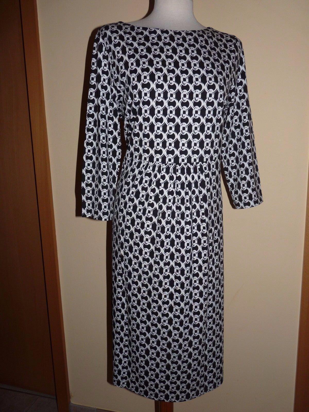 Peter Hahn Efixelle Jersey-Kleid 3 4 Arm Gr. 44 Schwarz-Weiß Ketten-Optik-Druck