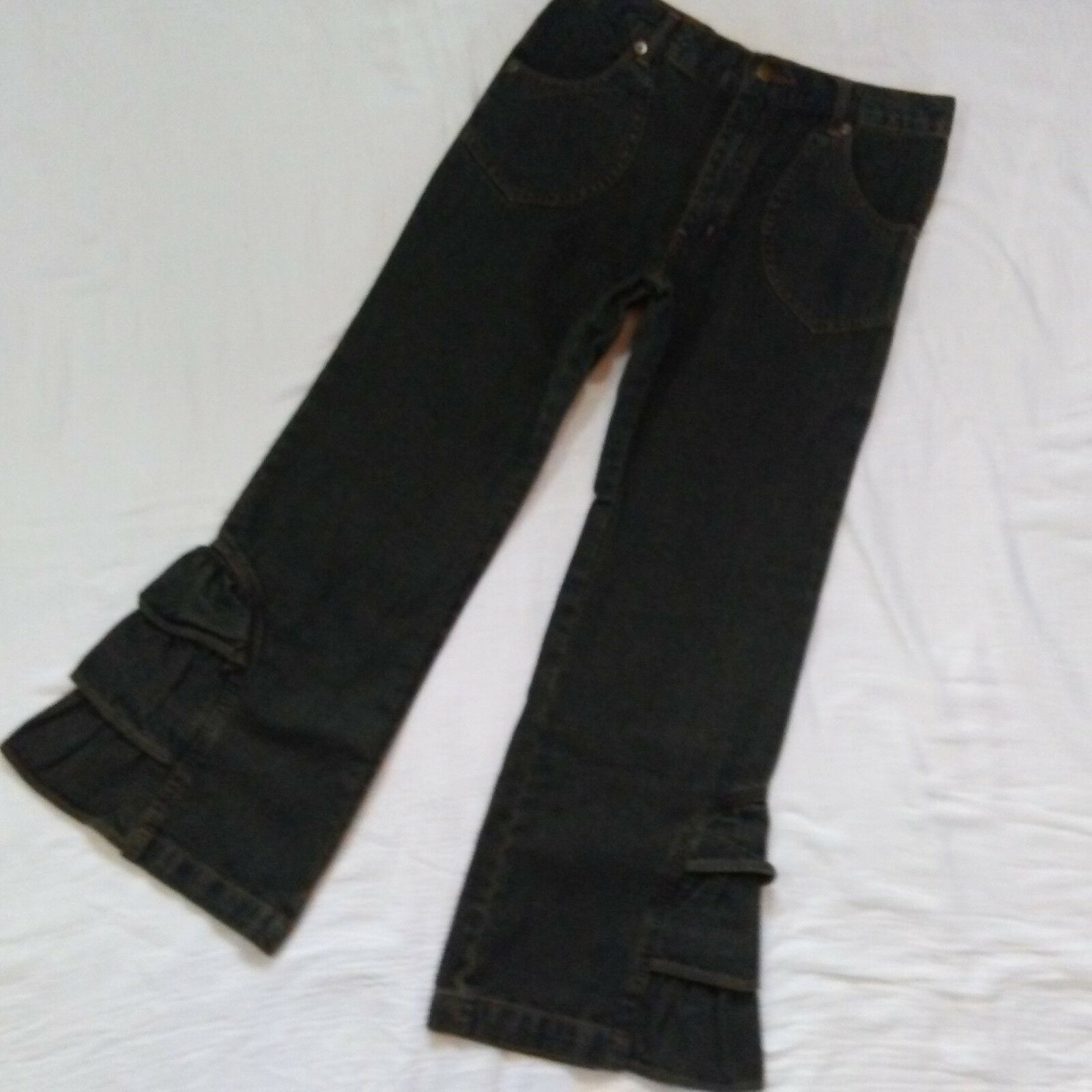 Womans Jeans Story Ruffle Flair Dark Wash Jeans  Petite Size 6