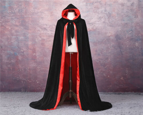 Velvet Hot Hooded Cloak Long Cape with Hood Masquerade Halloween Costume Capes