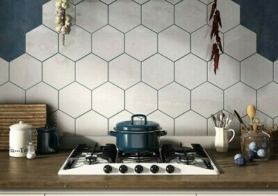 Tile Samples Honeycomb White Gloss Hexagon Bathroom Kitchen Wall Tiles Ebay