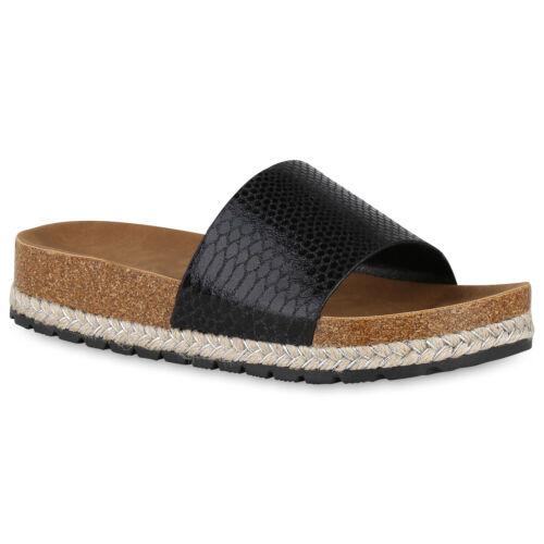 Damen Sandaletten Plateau Pantoletten Metallic Sommer Sandalen 826006 Trendy Neu