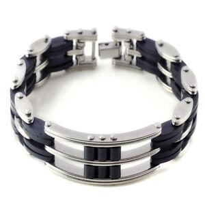 Men-039-s-Fashion-Black-Silver-Stainless-Steel-Rubber-Charm-Unisex-039-s-Bracelet-Bangle