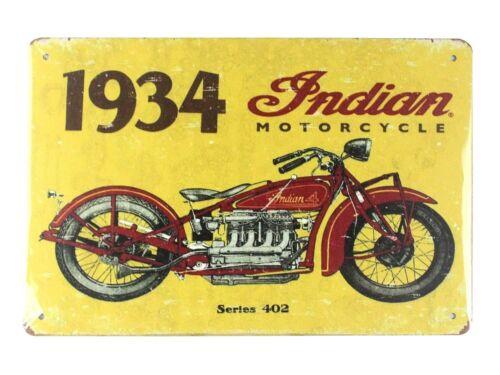1934 Indian motorcycle biker tin metal sign  reproductions