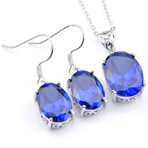 Royal Style Jewelry Set Oval Blue Sapphire Gems Platinum Pendant Earrings
