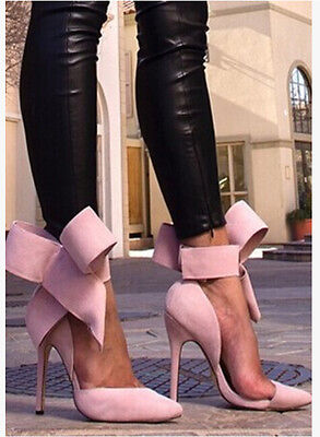 fashion womens pointed toe suede stilettos big bow-knot high heel party shoes
