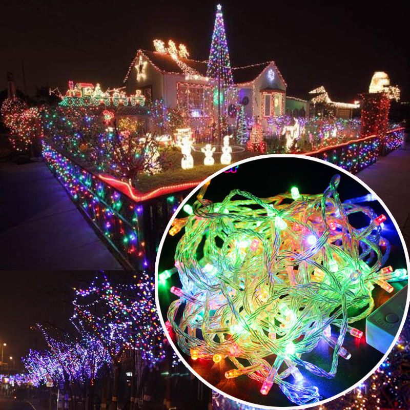 Christmas Decorating With String Lights : Led christmas rgb wedding party decor outdoor fairy