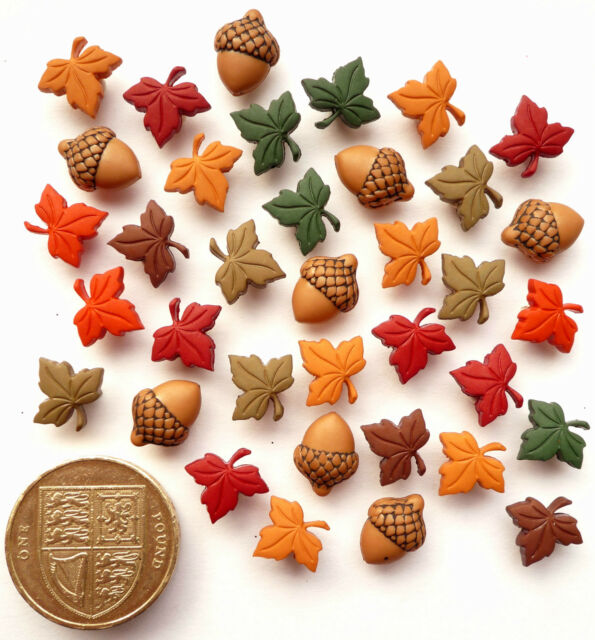 TINY ACORNS & LEAVES Craft Buttons 1ST CLASS POST Novelty Autumn Garden Flowers