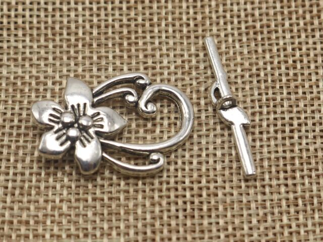 20 Sets Tibetan Alloy Ring Toggle Clasps Hook Closure Antique Silver 16x19mm