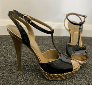 Auth-Yves-Saint-Laurent-YSL-Patent-Leather-Tribute-Heel-Sandals-Size-38
