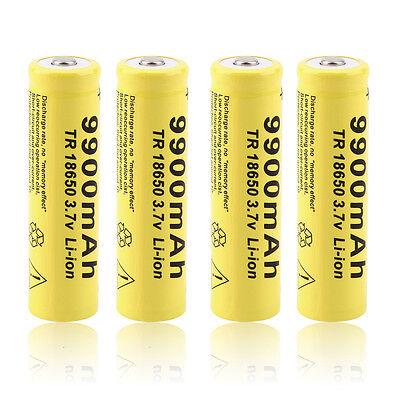 4pcs 3.7V 18650 9900mah Li-ion Rechargeable Battery For LED Flashlight Torch JH