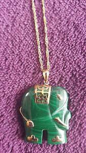elephant-jade-gold-pendant-14ct-chain-necklace-new