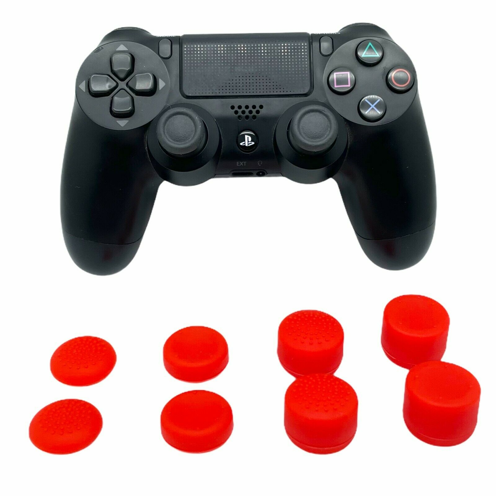 (RED) 8 PACK ThumbStick Cover Joystick Grip Caps Extenders For PS4 Controller