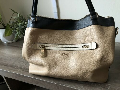 Coach Tyler Geometric Tan And Black Pebble Leather