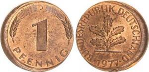 Frg 1 Pfennig 1977 J Lack Coinage: 10-15% Dezentriert, Mint State (2)