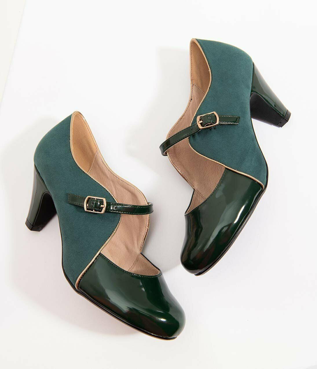 Chelsea Crew Lucille Patent Leatherette & Suede Heels