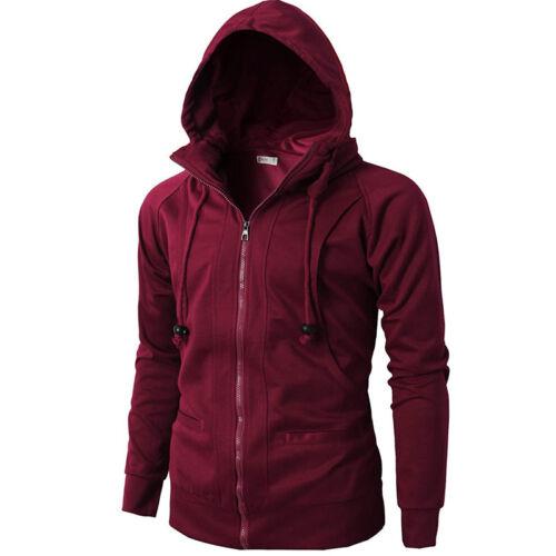 Mens Zip Up Hoodie Hooded Sweatshirt Long Sleeve Coat Jacket Outwear Casual Tops