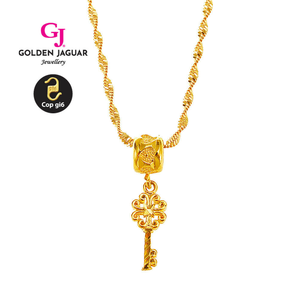 [GJ] 24k Gold Plated necklace pendant for Twenty-One gift necklace Chain Unisex
