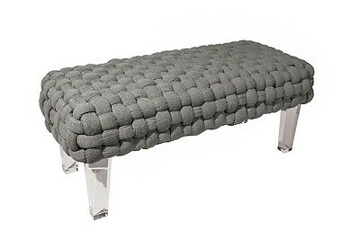 GRAY WOVEN LUCITE BENCH, 49 W x 21 D, Acrylic Legs, Hollywood Regency, GLAM!