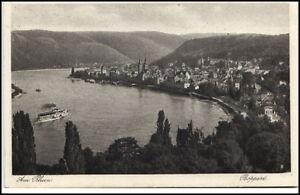 Boppard-Rheinland-Pfalz-Postkarte-1931-gelaufen-Totalansicht-mit-Rhein