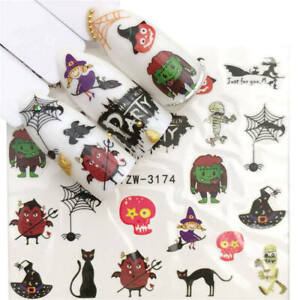 Nail-Art-Stickers-Water-Decal-Transfers-Halloween-Frankenstein-Spider-YZW-3174