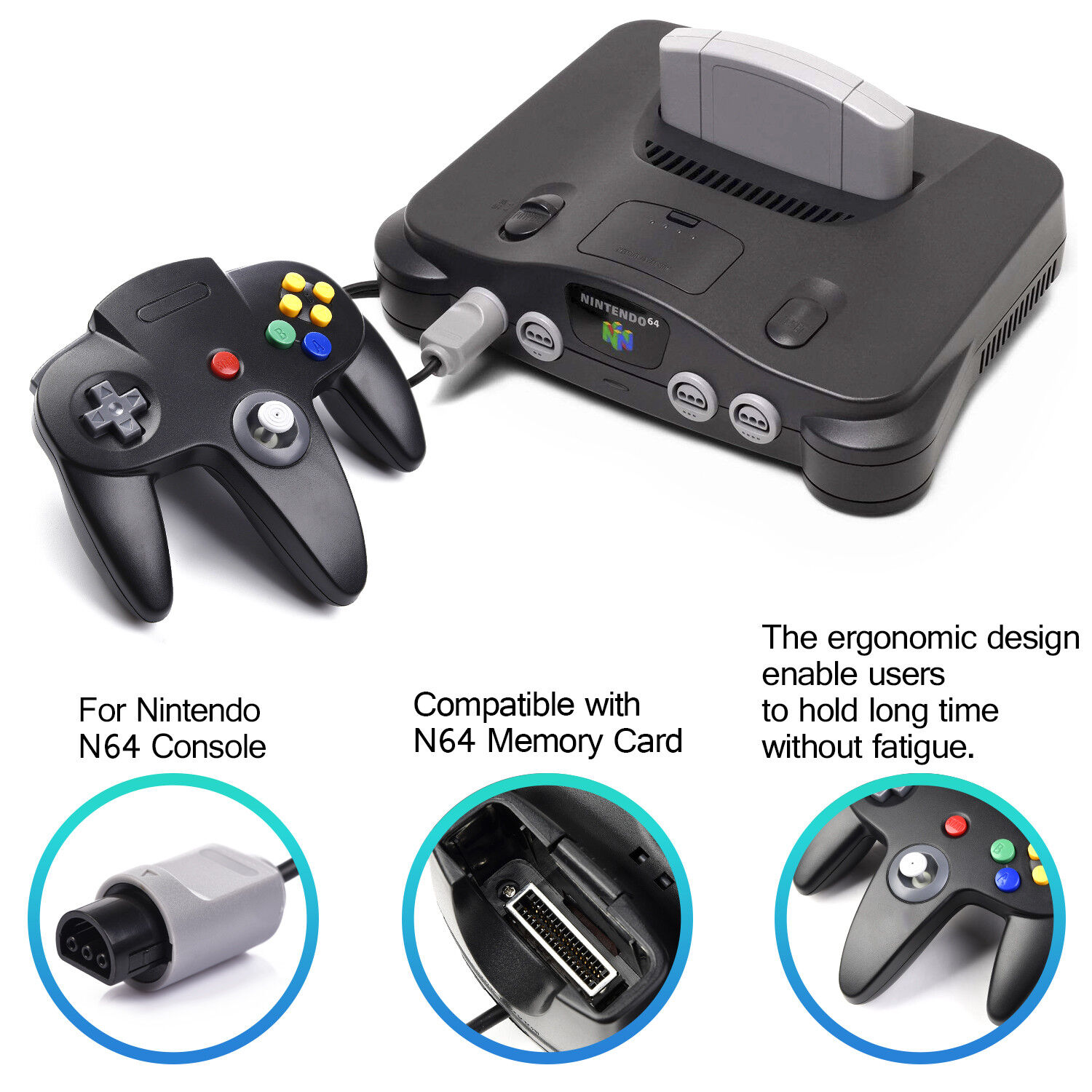 Controller Joystick Gamepad Controllers for Classic N64 Console Video Games 1x2x 9
