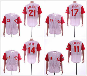 competitive price bc346 49307 Details about Cincinnati Reds Throwback Home Jersey #11 Larkin #14 Rose #17  Sabo #21 Sanders