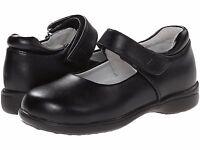 Black Leather Maryjanes School Shoes Jumping Jacks Girls Size 1 1/2 Wide