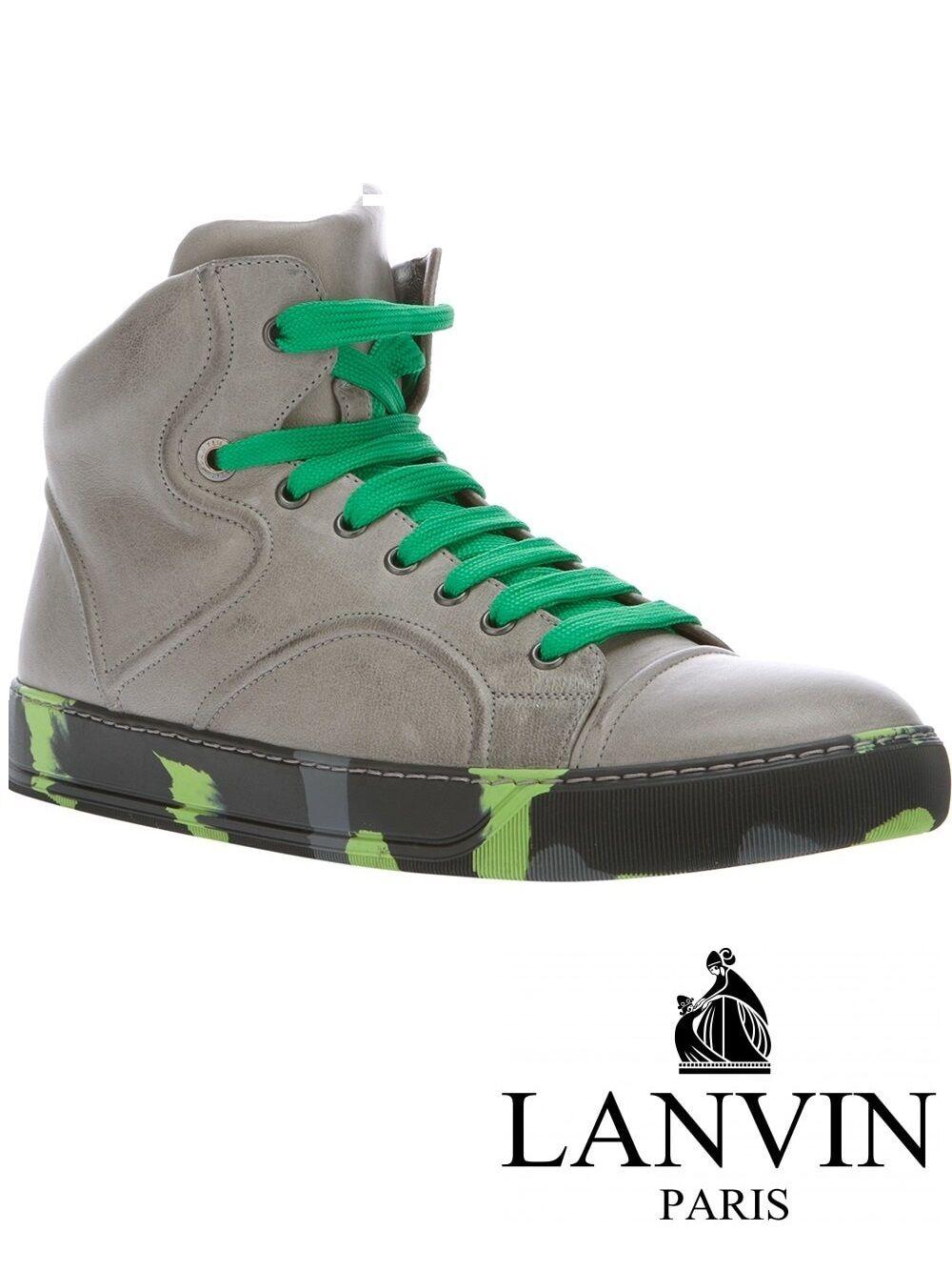 LANVIN Pelle di Agnello Grigio Paris Hi-Top Scarpe da ginnastica con raccoglipolvere-Regno Unito da uomo taglia 6 | Alta qualità ed economico  | Scolaro/Ragazze Scarpa