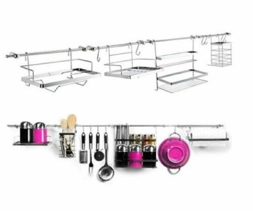 14 PC mural chrome ustensile tringle de cuisine suspendu étagère de rangement Set