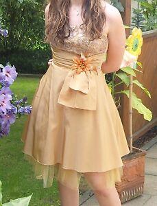 Abendkleid Cocktailkleid gold Blume orange Gr. 38   eBay