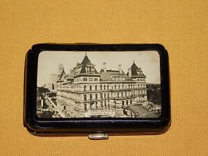 VINTAGE TOBACCO GOODY STATE CAPITAL ALBANY NY MINI CIGARETTE METAL CASE HOLDER