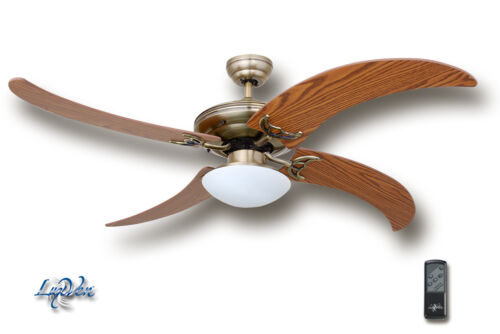 einzigartige FlügelLV-161AB-Eiche LuxVen® Deckenventilator in Antik Messing