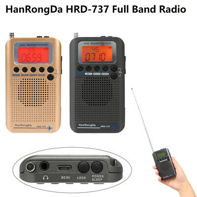 HanRongDa HRD-737 Portable Full Band Radio Aircraft Band Receiver FM//AM//SW R9F7