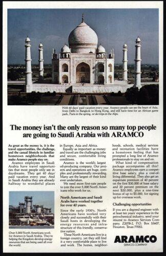VINTAGE AD 1982 ARAMCO Oil Co Saudi Arabia Middle East - TAJ MAHAL India