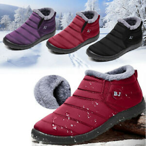 Womens-Snow-Ankle-Boots-Warm-Winter-Lined-Waterproof-Sneakers-Shoes-Ladies-Ntb