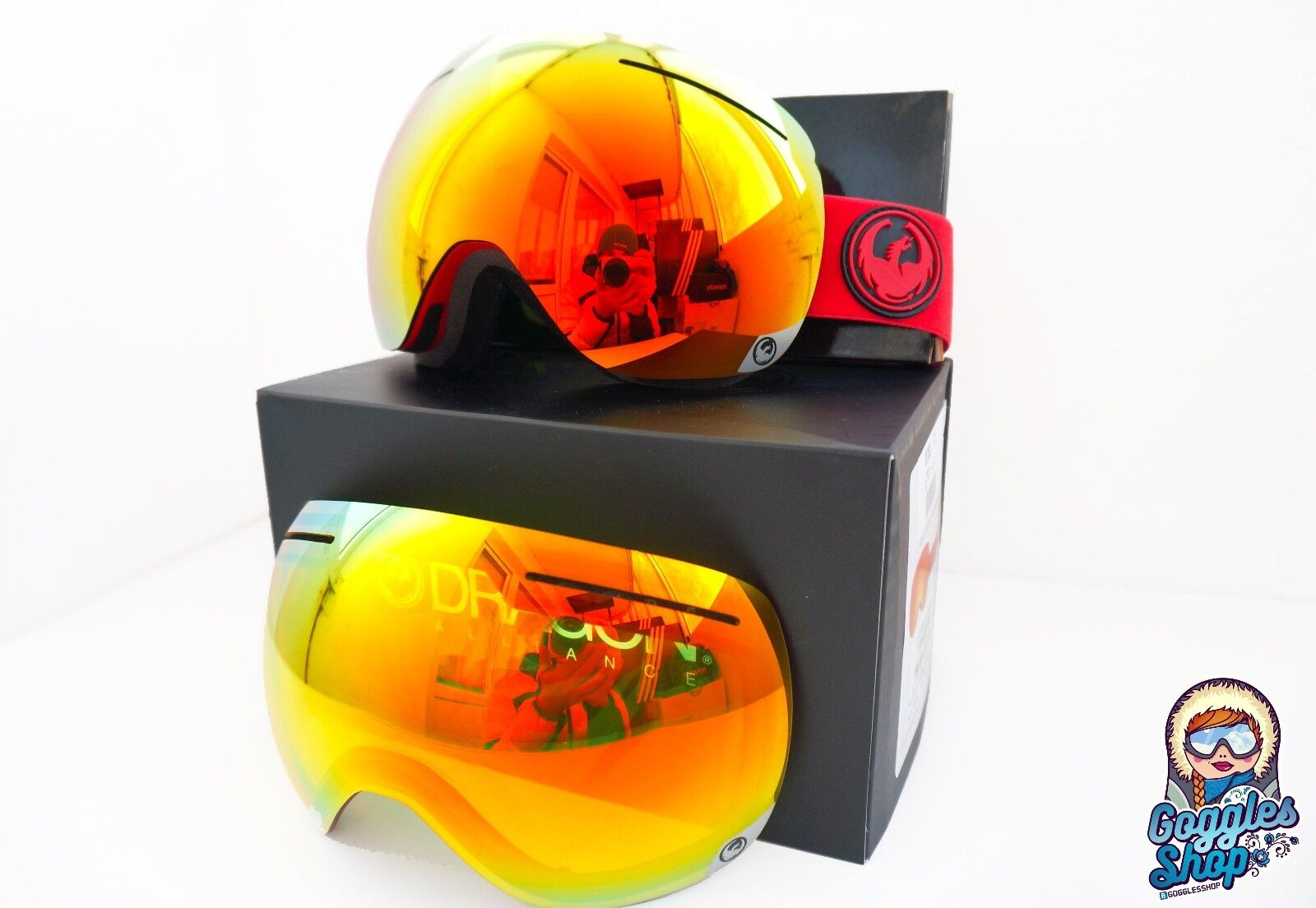 Dragon X1 Skibrille Bitter Red red ionized Bonus yellow-red Ski Snowboard Goggles