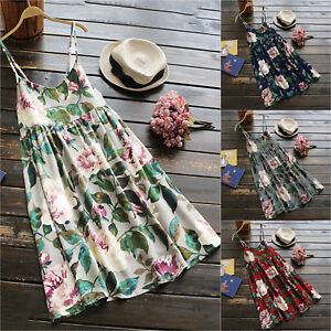 Plus-Size-Womens-Floral-Tunic-Long-Tops-Tee-Short-Beach-Party-Evening-Mini-Dress