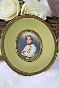French-1900-Napoleon-son-duke-officer-military-Miniature-portrait-painting-signe