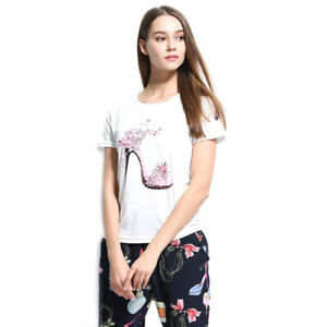 Womens-Short-Sleeve-Tops-Summer-Beach-Ladies-Casual-Loose-Blouse-Top-T-Shirts