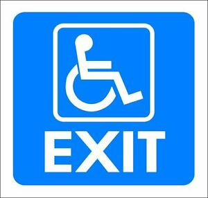 4-034-x-4-034-ONE-GLOSSY-STICKER-034-WHEEL-CHAIR-EXIT-034-FOR-INDOOR-OR-OUTDOOR-USE