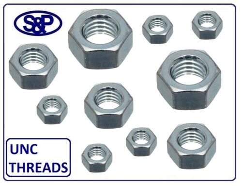 "IMPERIAL COARSE NUTS 5//16 UNC TO 3//4/"" UNC ZINC PLATED FULL NUTS BZP UNIFIED"